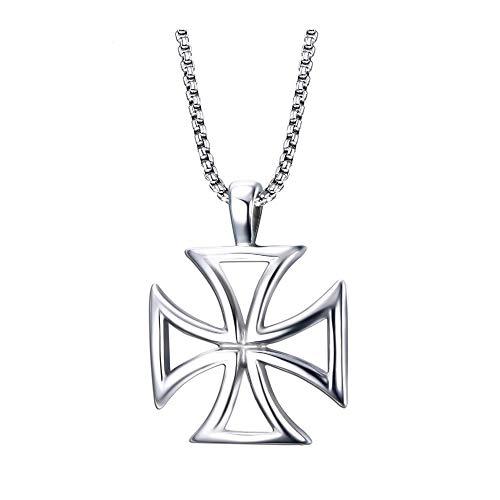 Hombres Vintage Maltés Cruz de hierro Collar Acero inoxidable Caballeros huecos Templario Colgante Collar Cruz Joyería de moda