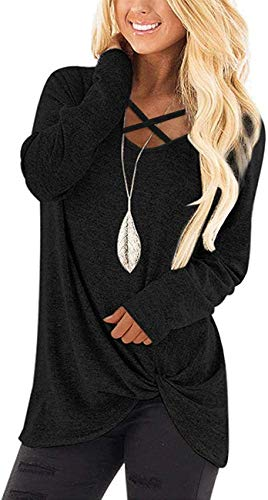 Angerella Long Sleeve Shirts for Women Cute Casual V Neck Tops Knotted Plain Tunic Shirt Black L