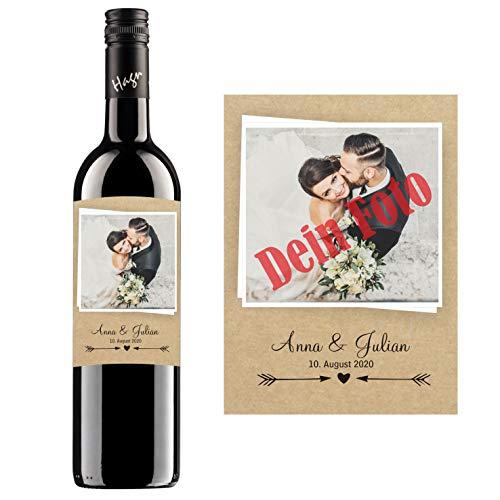 Personalisierter Wein zum Geburtstag, Valentinstag, Hochzeit, Muttertag, Jahrestag | Gestalte dein persönliches Geschenk | (Blauer Zweigelt, Naturoptik)