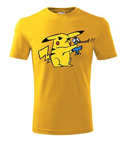 Kleur Mode Pokemon Pikachu en Vogel Mannen T Shirt