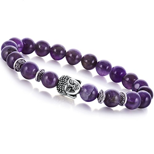 Joya Gift Jewelry Fashion Bracelets Natural Amethyst Chakra Healing 8mm Round Beads Buddha Bracelet for Aunt Gift