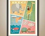 Big, Small, Short, Tall Poster. Elephant. Giraffe. Monkey.