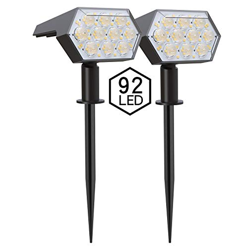Solar Landscape Spotlights 92 LEDs,IP65 Waterproof 2-in-1 Wireless Outdoor Solar Powered Wall Lights,Wall Light Decorative Lighting Auto On/Off for Pathway Garden Patio Yard Driveway Pool,2 Pack White