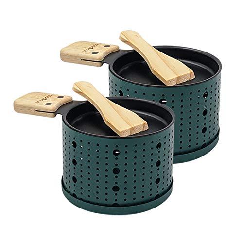 COOKUT - Lumi - Une raclette à la Bougie - Faites Fondre Votre Fromage en 3 Minutes - A Table ou Devant la télé - Spatule Bois inclues - sans électricité - Pack de 2 appareils - Vert