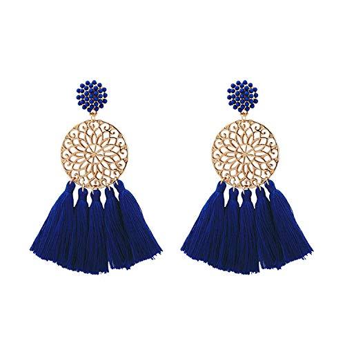 JY Novedad Jewelrygold Plated Mujer Stud Pendientes redondo Flor Tassesl Azul 80X50Mm