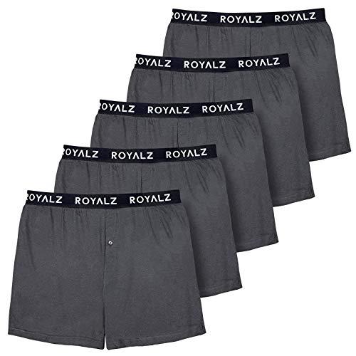 ROYALZ 5er Pack Boxershorts Weit für Herren American Style Comfort Unterhosen klassisch 100{8dc321b7353da1b393a660791d4ea011a377a33e2ffe396fa7a2c59420985e34} Baumwolle Weich Locker 5 Set Männer Unterwäsche, Farbe:Dunkelgrau, Größe:M
