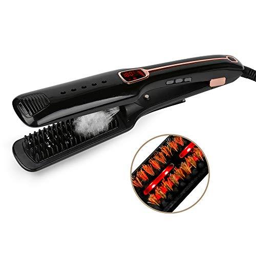 Plancha de pelo de múltiples funciones de vapor spray recto peine de pelo infrarrojo negativo herramientas de cuidado del cabello,Black