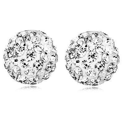 E819 Shamballa Ohrstecker Diskokugeln Kristall Weiß 10 mm