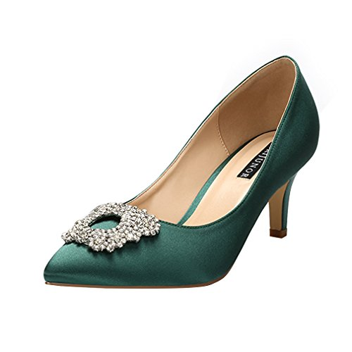 ERIJUNOR E1604 Women Pumps Low Heel Rhinestone Brooch Satin Evening Dress Wedding Shoes Dark Green Size 7