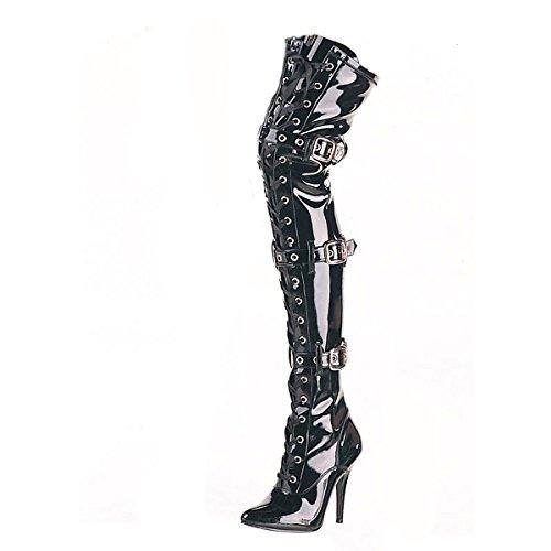 Higher-Heels PleaserUSA Overknee-Stiefel Seduce-3028 Lack schwarz Gr.37