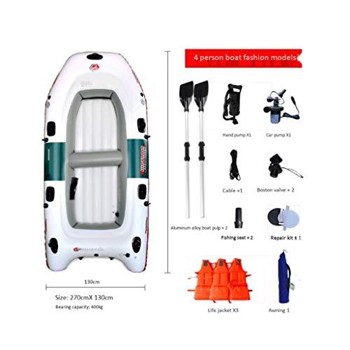 YUHT Gommone, Escursione in 4 Persone Gommone Gonfiabile Assault Boat Set con Remi in Alluminio - Piscina Gonfiabile Giocattolo da Spiaggia Adatto per Spiaggia, Rafting, Surf