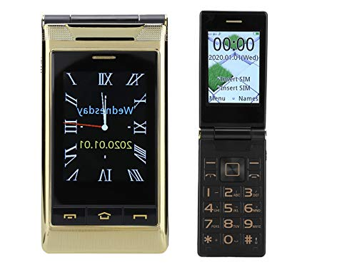 Tonysa Teléfono móvil Flip para la Edad, teléfono móvil 3G con Pantalla Dual de 2,6 Pulgadas, Memoria de 64 + 128 MB, batería incorporada de 5800 mAh, teléfono móvil Plegable con Linterna
