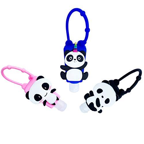 3 Pack Silikon Reiseflaschen Set Panda, 30 ml Leere Flaschen Behälter für die Reise, Flüssigseife, Shampoo, Duschgel, Lotion, Toilettenartikel, Auslaufsichere Reise Zubehör, Rosa Blau Schwarz