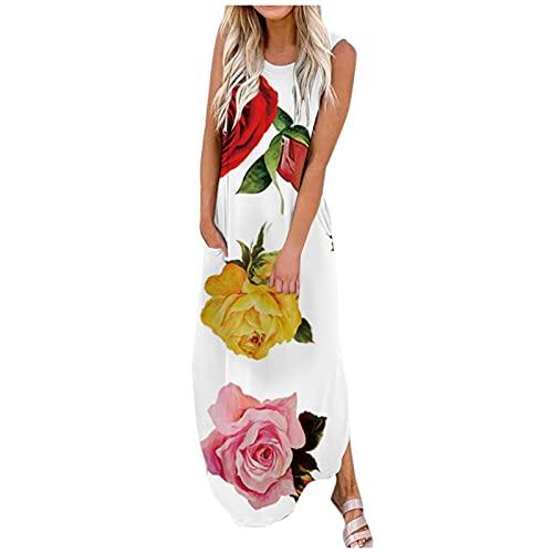 Writtian Vestido de verano para mujer, largo, elegante, informal, sin mangas, vestido abierto, sexy, cuello redondo, maxivestido con bolsillos, F-b, XXL