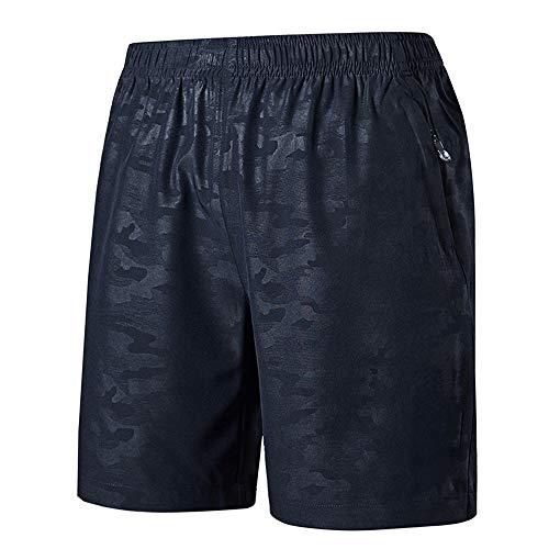 CHYU Sporthose Kurz Herren Soft Comfort Schnelltrocknend mit Reißverschlusstasche Sport Shorts Jogginghos (Blau gedruckt, L)