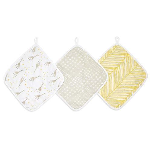 aden + anais™ essentials - Set de 3 débarbouillettes pour la toilette en mousseline 100% coton - Débarbouillette chic - Douce - Accrochable - Garçon - Fille - Imprimé Starry Star - 30 cm x 30 cm