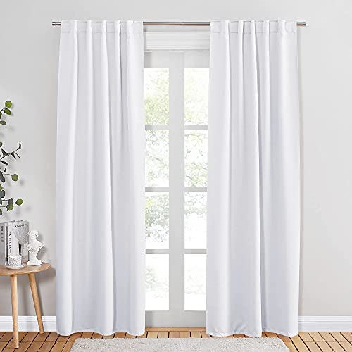 PONY DANCE White Window Curtains - 42 W x 84 L, Pure White Living Room Curtain Drapes Energy Saving Back Tab Window Treatments Thermal Insulated Panels for Home Decoration, 2 PCs