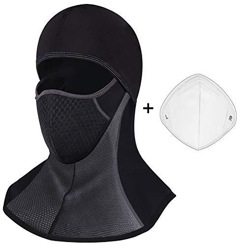 ROTTO Pasamontañas Moto Negro Impermeable Esquí Ciclismo Snowboard Máscara Facial de Deportes al Aire Libre Calentar a Prueba de Viento Tamaño (Negro-A(con Cremallera))