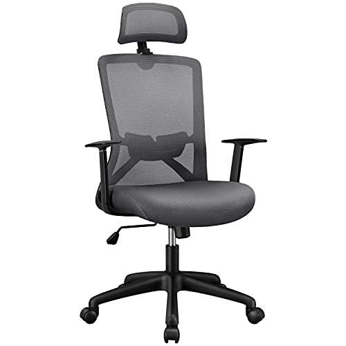 Yaheetech Bürostuhl Drehstuhl Ergonomischer Chefstuhl Atmungsaktiver Schreibtischstuhl mit hoher Rückenlehne Kopfstütze und Lordosenstütze Wippfunktion Dunkelgrau