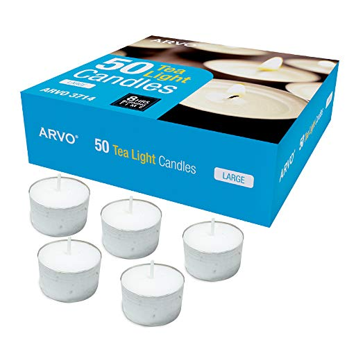 ARVO Tealight Candles White Pack of 50, 6-8 Hour Burn Time 23g, Unscented Wax Candles
