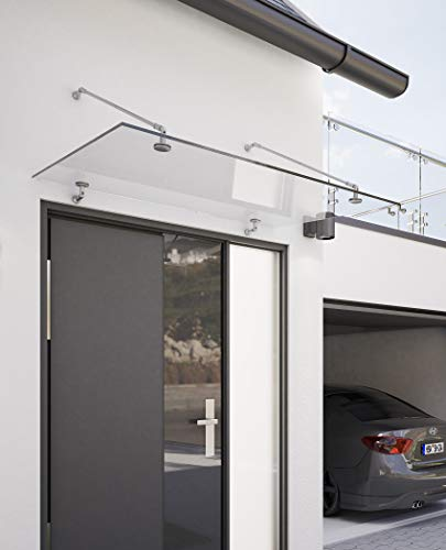 Schulte deurluifel Davita, 140x90 cm, edelstaal, 12 mm helder veiligheidsglas, V2011-40-18