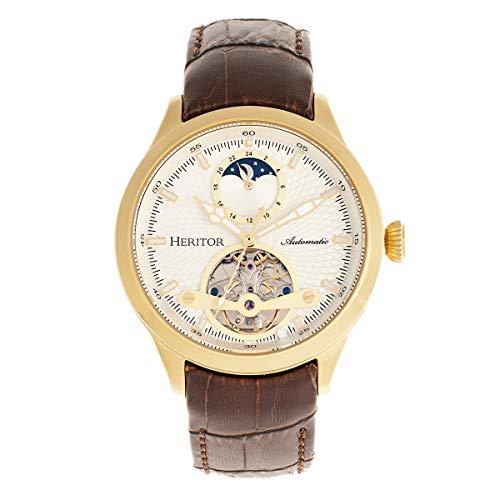 Heritor Gregory Herren Automatik Braun Echtleder Gold Armbanduhr HERHR8103