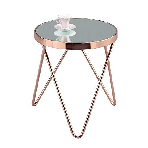 ASPECT Puccini Mirrored/Glass Round Side/Coffee/End/Lamp Table, Copper, 42.5x42.5x46 cm