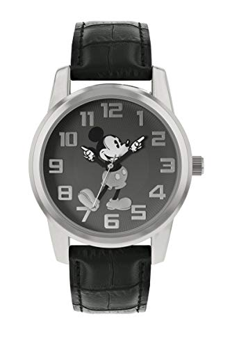 Disney Mickey Mouse MK1461 Armbanduhr, Unisex, silberfarbenes Gehäuse, schwarzes Lederband