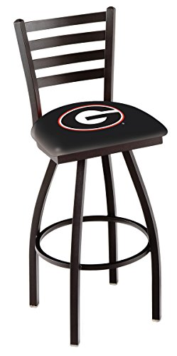 "Georgia Bulldogs HBS G Black Ladder Back High Swivel Bar Stool Seat Chair (25"") image"