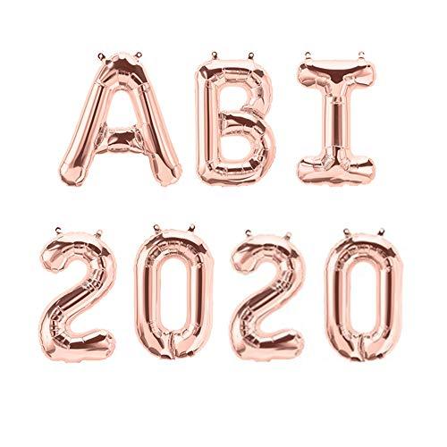 XXL Folien-Ballons ABI 2020 rosé-gold Buchstaben-Girlande Luft-Ballons Schriftzug Höhe 35cm Abitur Schul-Abschluss Abi-Party Feier Schul-Ende Gymansium Matura Diplom Reife-Prüfung Raum-Deko-ration