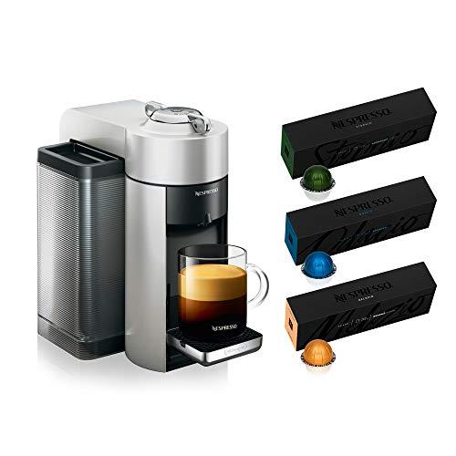 Nespresso ENV135S Vertuo Evoluo Coffee and Espresso Machine by De'Longhi, Silver with Nespresso Vertuoline Coffee, Best Seller Assortment, 30 Capsules
