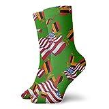 yting Calcetines casuales de la bandera de Zambia con la bandera de América Calcetines de tobillo Calcetines de compresión de vestido corto para mujeres Hombres