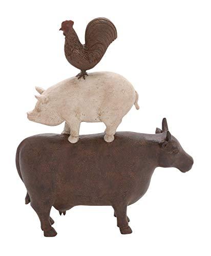Deco 79 Farm Animal Figurine Polystone Stack 10  W  14  H-44717  11x3x14  Multi-Colored