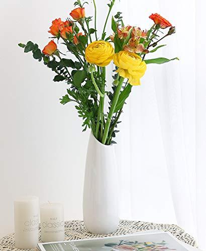 Luxspire Vaso da Fiori Bianco, Vasi Decorativi Moderni Elegante Vaso di Fiori in Resina Decorazioni Interativi per Casa Ufficio Salotto Matrimonio Festa, Altezza 23cm - Bianco