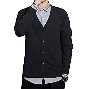 JHIJSC セーター メンズ カーディガン ニット セーター vネック 長袖 綿 無地 秋冬 (L, ブラック)