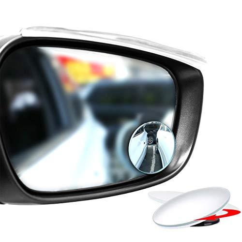 Miniespejo redondo para puntos ciegos, HD, sin marco, cristal convexo, gran ángulo de 360°, giratorio, ajustable. Para retrovisores, para todos los coches, camiones y motos, paquete de 2, de Emiup.
