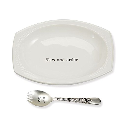 Mud Pie Coleslaw Set with Spoon Serving Bowl, One Size, White