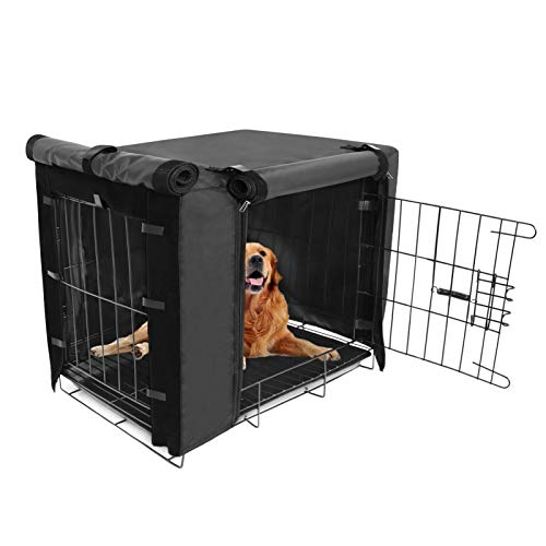 """Durable Dog Crate Cover Double Door for Large pet Cover Kennel Covers Universal Fit for 36 inches Wire Dog Crate (36 Inch (36"""" L x 23"""" W x 25"""" H))"""
