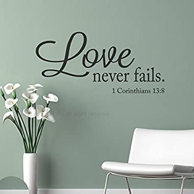 BATTOO Love Never Fails Wall Decal Vinyl Lettering Vinyl Wall Decal 40  W 19  H Bible Verse Scripture Quote Decal Wedding Registry Home Decor, Black