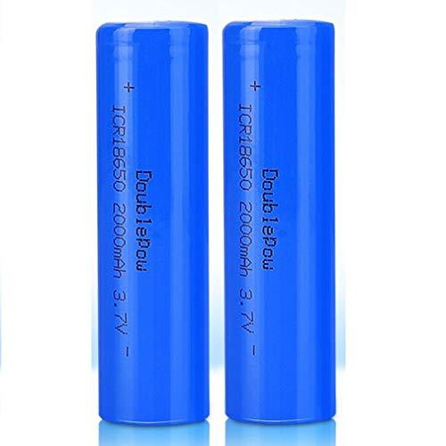 2 Pcs Batería 18650 Recargable Litio Lones Pilas 3.7V 2000mah Capacidad Baterías...