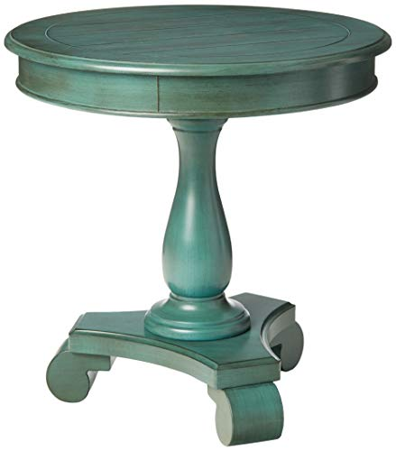 OSP Home Furnishings Avalon Hand Painted Round Accent Table, Antique Caribbean