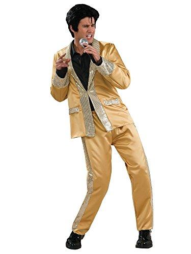 Men's Deluxe Elvis Gold Satin Costume