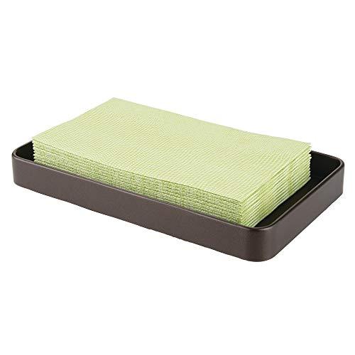 mDesign Bandeja Decorativa para baño, Ideal como dispensador de Toallas de Papel – Bandeja de Metal para Toallas de Invitados, perfumes, Joyas y más – Color Bronce