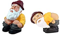 Set of two gnomes, funny decorations Each 6 inches wide. Sitting is 6 inches tall, squatting is 9 inches tall. Great fun indoors or out. Greet your guests - home, office, front lawns, backyards, bathroom and kitchen decoration. Makes a great gag gift