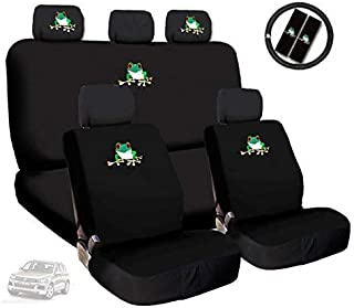 Yupbizauto Frog Embroidery Logo Car Seat Covers Headrest Steering Wheel Cover Gift Set