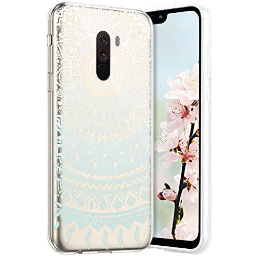 Robinsoni PocoPhone F1 Coque en Silicone Transparente Motif Mandala Fleur Jolie Housse de téléphone Gel TPU Souple Ultra Mince Crystal Clear Skin Étui Coque pour PocoPhone F1,1#