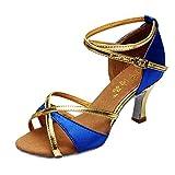 Meilleure Vente!LuckyGirls Chaussures de Danse Latine pour Fille Talons Hauts Chaussures de Satin Chaussures de Danse Salsa Tango(Bleu,35)
