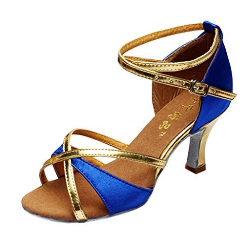 SANFASHION Mädchen Latin Dance Schuhe Damen Med-Heels Satin Sandalen Party Tango Salsa Dance Latin Dance Soziale Tanzschuhe