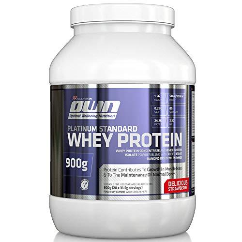 OWN - Platinum Standard Whey Protein Molkenprotein-Ergänzungspräparat zum Muskelaufbau mit Glutamin und Aminosäuren, Erdbeergeschmack, 900g