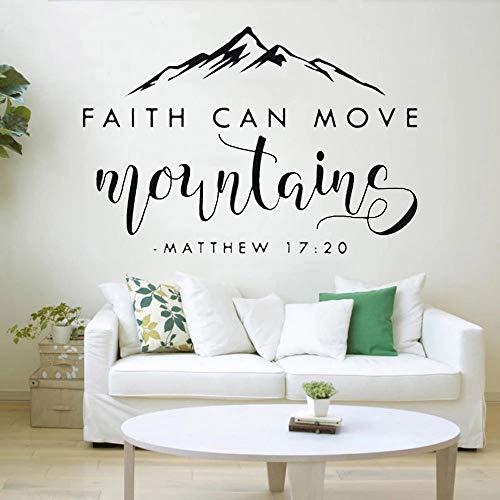 HGFDHG Etiqueta de la Pared de la Biblia La fe Puede Mover la montaña Calcomanía de Vinilo para Pared Sala de Estar Dormitorio Oficina Decoración Art Deco
